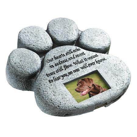 Own Pet Memorial - Paw Print Pet Outdoor Memorial Stone, with 2