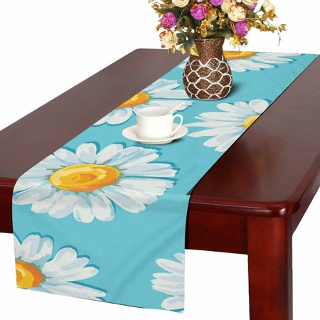 MKHERT Beautiful Summer Floral With Daisies Flowers Table Runner For Wedding Party Decoration Kitchen Decor Decoration 14x72 inch