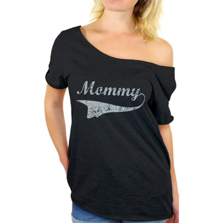 Awkward Styles Women's Mommy Vintage Graphic Off Shoulder Tops T-shirt Gray Gift for Mom (Mummy Mom)