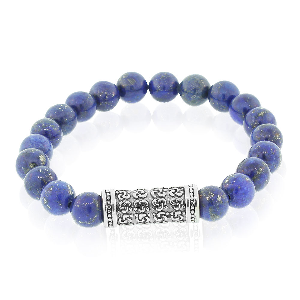 EDFORCE Fashion Alloy Blue Gold-Toned Beads Filigree Charm Mens Stretch Bracelet, 8""