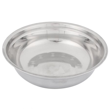 Household Kitchen Stainless Steel Rice Soup Porridge Dish Plate Silver Tone
