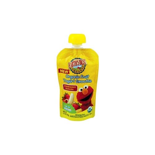 Earth's Best Organic Sesame Street Strawberry Banana Fruit Yogurt Smoothie, 4.2 oz