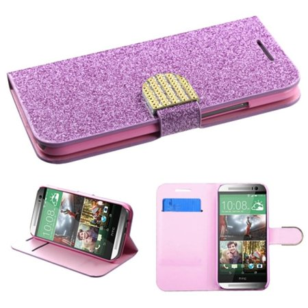 Insten Purple V2 New MyJacket Wallet Premium Case Cover Card Slot For HTC One 2 M8 (Htc One M8 Wallet Case Strap)