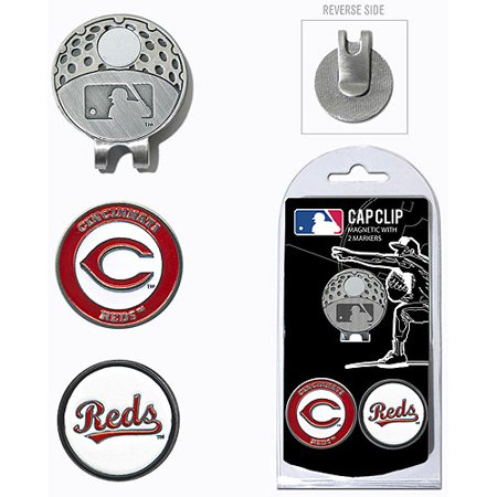Team Golf MLB Cincinnati Reds Cap Clip With 2 Golf Ball Markers