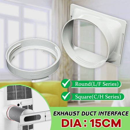 """15cm/5.9"""" Diameter White ABS Plastic Exhaust Duct Interface Round Square L/F & C/H Series For Portable Air Conditioner"""