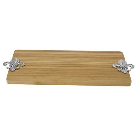 Solid bamboo rectangular serving tray w fleur de lis accent - Fleur de lis serving tray ...