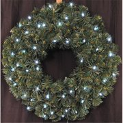Queens of Christmas WL-GWSQ-02-LCW-BAT 2 ft. Pre-Lit Battery Operated LED Pure White Sequoia Wreath