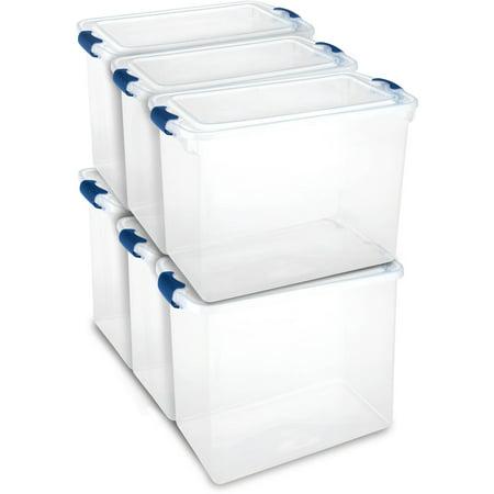 plastic storage bins. homz 112 qt. plastic storage latching tote, clear/blue (set of 6 bins