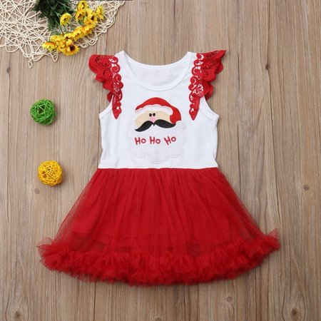 Toddler Baby Girls Christmas Tulle Tutu Dresses Sleeveless Princess Party Gown Dress Casual Clothes Outfits