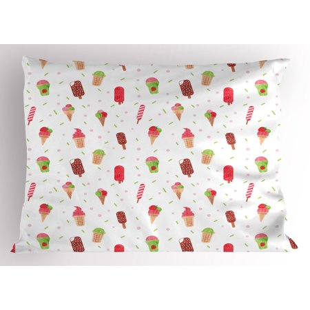 Ice Cream Pillow Sham Summertime Inspired Watercolor Pattern with Yummy Dessert Ice Lolly and Cone, Decorative Standard Queen Size Printed Pillowcase, 30 X 20 Inches, Multicolor, by Ambesonne](Yummy Halloween Desserts)