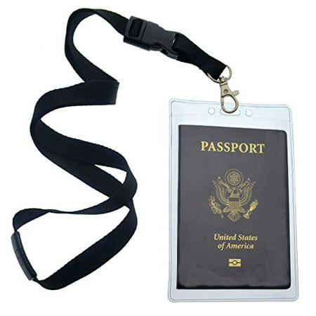 2 Pack - Clear Tear Resistant Passport ID Badge Holder with Open Top & Detachable Buckle Lanyard by Specialist ID - Lanyard With Badge Holder