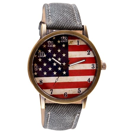 United States American Flag USA Watch Patriotic Black Band  Watch- AFW-1 ()