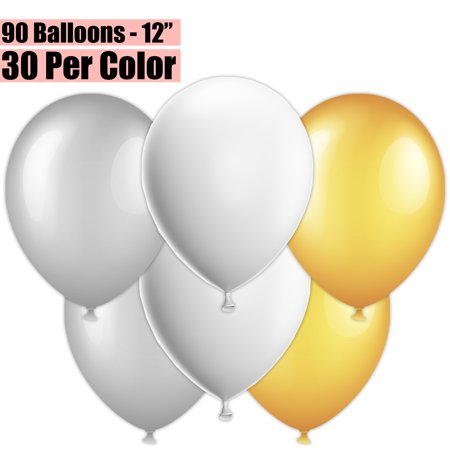 12 Inch Party Balloons, 90 Count - Metallic Silver + White + Metallic Gold - 30 Per Color. Helium Quality Bulk Latex Balloons In 3 Assorted Colors - For Birthdays, Holidays, Celebrations, and More!!](Cheap Bulk Balloons)