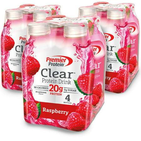 Premier Protein Clear Protein Drink, Raspberry, 20g Protein, 16.9 Fl Oz, 12 Ct