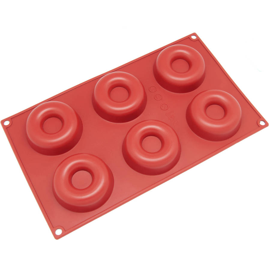 Freshware 6-Cavity Donut Silicone Mold for Muffin, Cupcake and Ring Cake, SL-102RD