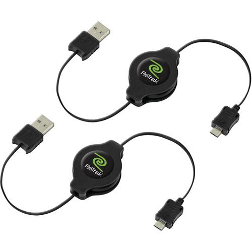 RETRAK_EMERGE ETCABLEMIC52X Retractable Micro USB Cables 3.2 ft 2 pk