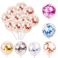 "5/10/20pcs 12"" Latex Confetti Balloons Clear Gold Silver Balloon Wedding Birthday Party Christmas Baby Shower Decor"