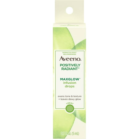 AVEENO Positively Radiant MaxGlow Infusion Drops with Moisture Rich Soy & Kiwi Complex, Moisturizing Facial Serum 0.17 o