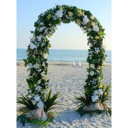 Efavormart 7.5ft Decorative Metal Wedding Arch - White - 55