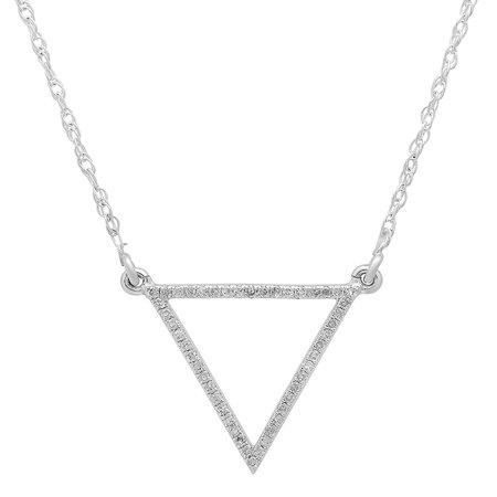 0.12 Carat (ctw) 14K White Gold Round White Diamond Ladies Triangle Pendant