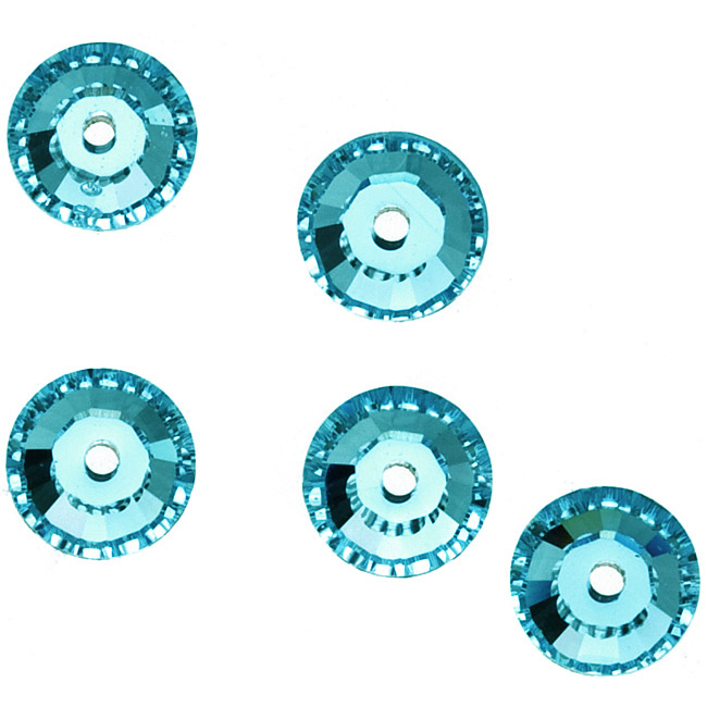 Swarovski Crystal, #3128 Round Sew-On Stones Center Hole 3mm, 50 Pieces, Light Turquoise F