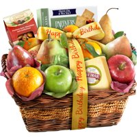 Golden State Fruit Gourmet Happy Birthday Fruit with Cheese and Nuts Gift Basket, 13 pc