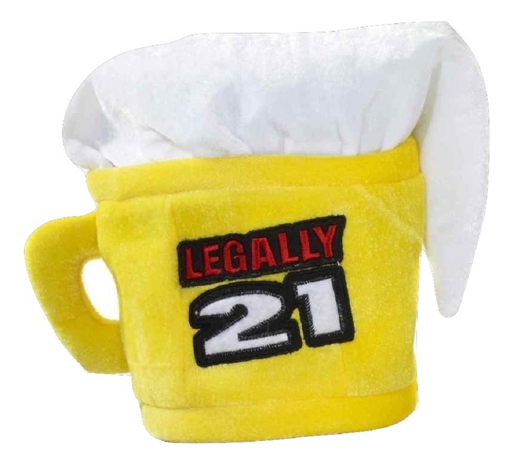 Legally 21 21st Birthday Beer Mug Cup Hat Adult Costume Accessory Yellow by Forum Novelties