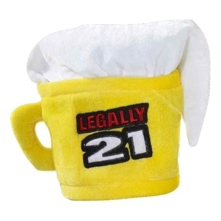 Legally 21 21st Birthday Beer Mug Cup Hat Adult Costume Accessory Yellow - Beer Mug Costumes