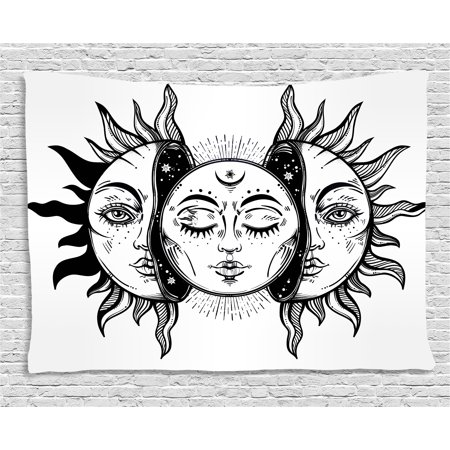 Moon Tapestry, Monochrome Sun and Moon Pattern Oriental Image Asian Culture Inspired Design Print, Wall Hanging for Bedroom Living Room Dorm Decor, 80W X 60L Inches, Black White, by - Asian Inspired Wall Art
