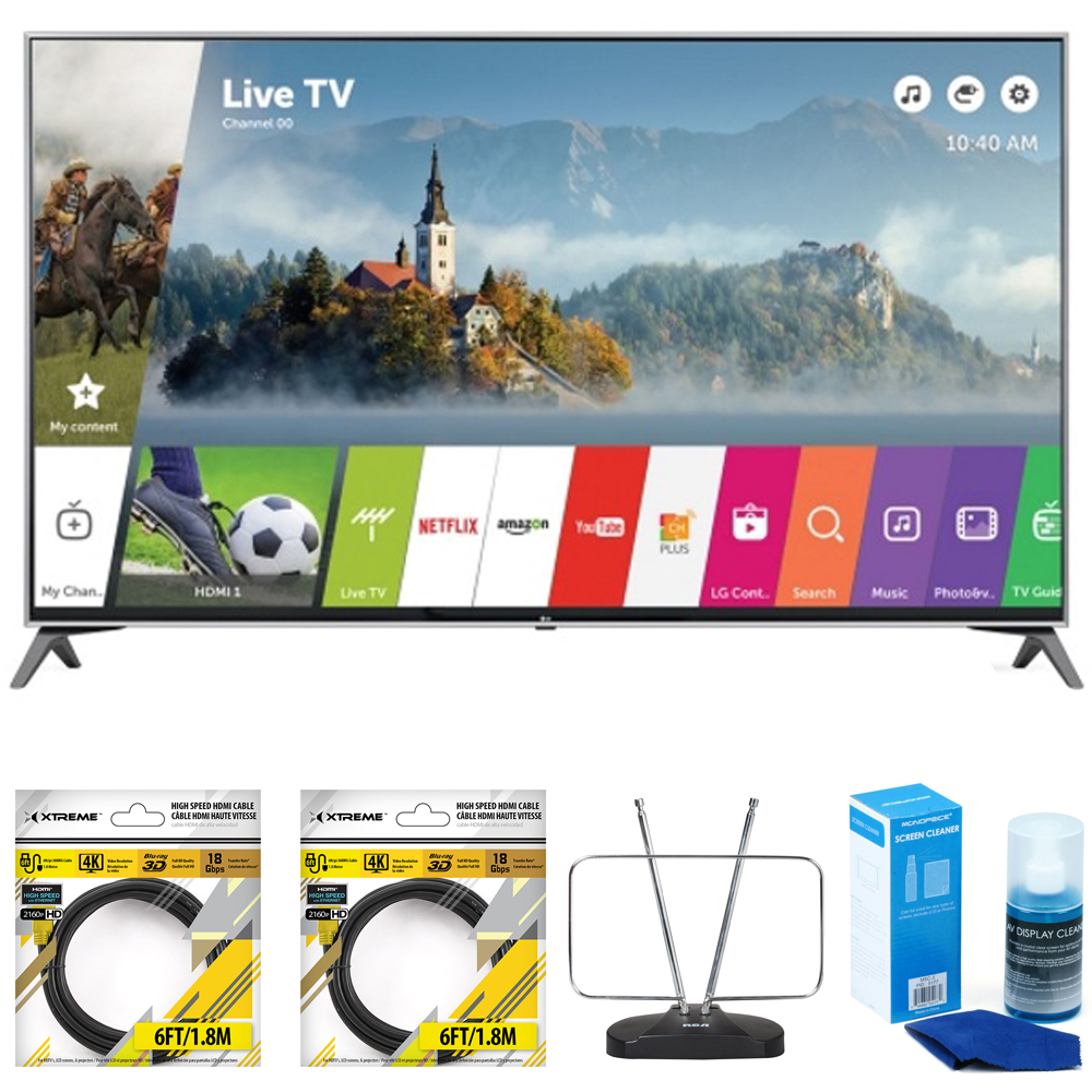 """LG 49"""" Super UHD 4K HDR Smart LED TV 2017 Model (49UJ7700) with 2x General Brand 6ft High Speed HDMI... by LG"""