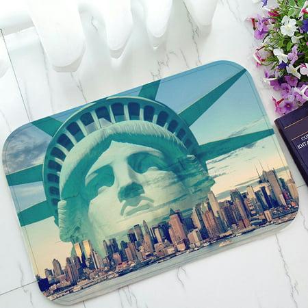 PHFZK Cityscape Doormat, City Landmark Statue of Liberty Doormat Outdoors/Indoor Doormat Home Floor Mats Rugs Size 23.6x15.7 inches