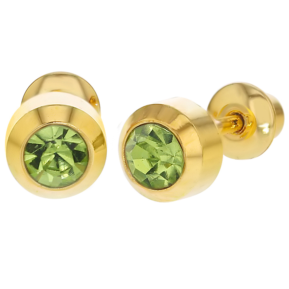 18k Gold Plated Round Green Crystal Screw Backs Kids Baby Earrings 4mm