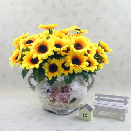 7 Heads Fake Sunflower Artificial Silk Flower Bouquet for Home Wedding Party Banquet Floral Decor ()