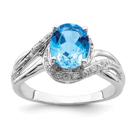 Sterling Silver 2 MM Diamond and Light Swiss Blue Topaz Square Ring, Size 6