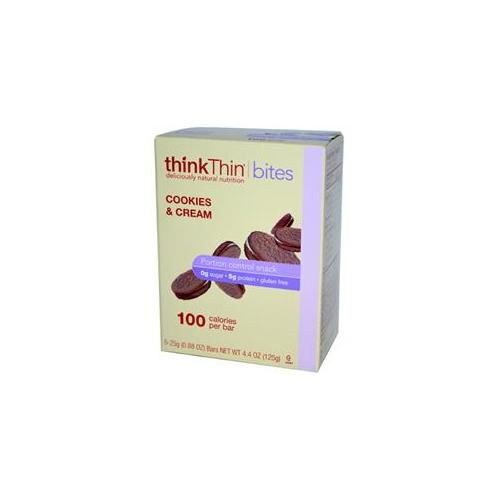 thinkThin Gluten Free Cookie and Cream Bites, 4.41 OZ (Pack of 6)