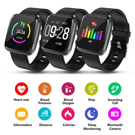 Waterproof Sport Watch - 1.3'' Large Touch Screen Fitness Tracker, Waterproof Smart Watch w/ BP, HR, Sleeping Monitor, Tracker Pedometer