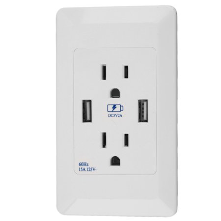 Us Plug Dual 2 Port Usb Wall Socket Panel Charger Ac Power Outlet Plate Panel