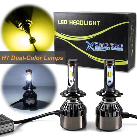 Xotic Tech H7 Dual-Color 3000K/6000K xenon white/yellow LED Headlight High/Low Beam DRL Lamps For Audi BMW VW