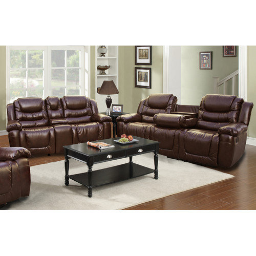 Beverly Fine Furniture Ottawa 2 Piece Bonded Leather Reclining Living Room Sofa Set