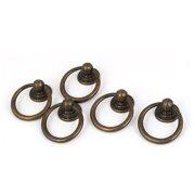 Drawer Cupboard Cabinet Door Hardware Metal Ring Pull Handle Bronze Tone 5pcs