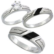 sterling silver cubic zirconia trio engagement wedding ring set for him and her 55 mm black - Wedding Rings For Her And Him