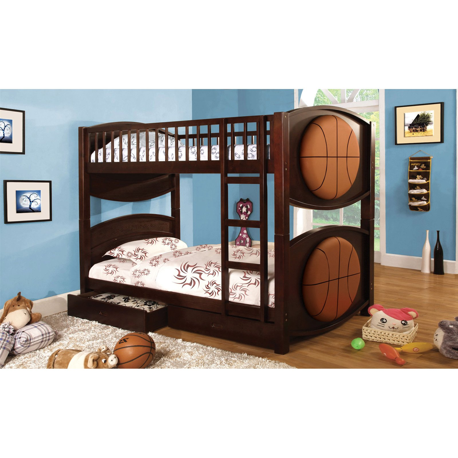 Picture of: Furniture Of America Basketball Twin Over Twin Bunk Bed With Storage Drawers Walmart Com Walmart Com
