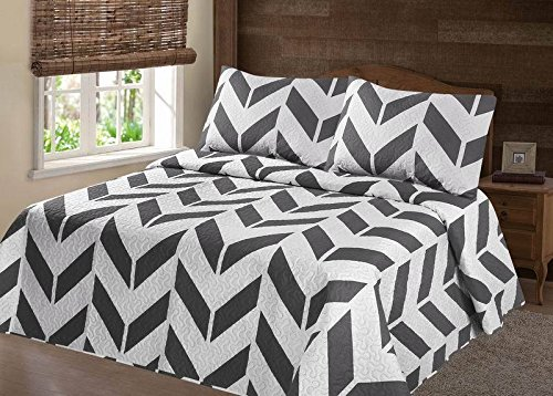 GorgeousHome (CHEVRON) 2 Piece Twin Grey Silver Zig-Zag Design Pattern Reversible Quilt... by