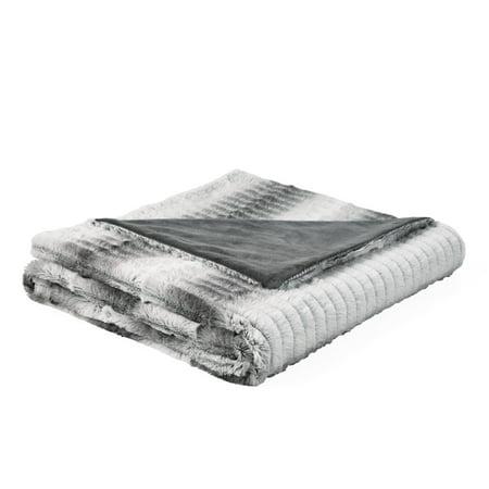 Better Homes & Gardens Leopard Faux Rabbit Fur Throw Blanket, 50 x 60, Grey