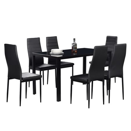 SveBake Dining Table Set, Simple Assembled Tempered Glass Kitchen Dining Room table Set with Six Bench, Black Solid Wood Quality Construction Dining Sets for Home Kitchen Living Room Furniture ()