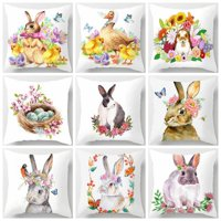 New Happy Easter Bunny Pillow Cover Polyester Sofa Cushion Cover Home Decor Pillow Case 45*45Cm(No Inner)