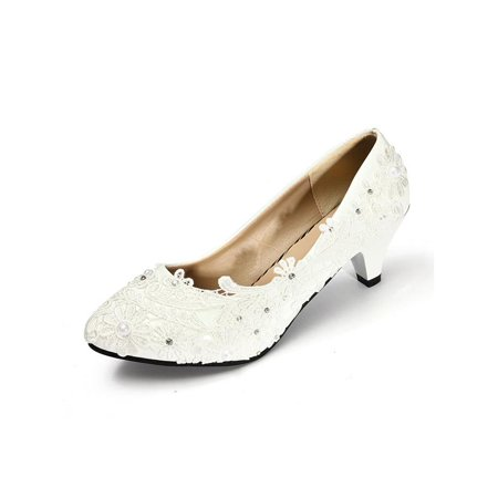 Meigar Women Lace White Ivory Crystal Wedding Shoes Bridal