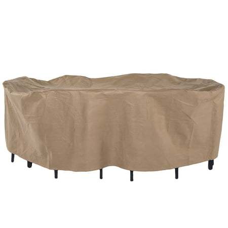 Duck Covers Essential 96 Rectangle Oval Patio Table With Chairs Cover