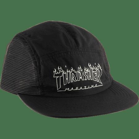 6452f4f91ef Thrasher Flame Outline 5 Panel Skate HAT - Adjustable Black ...