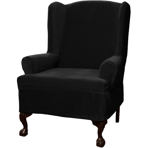 Maytex Stretch Collin 1 Piece Wingback Armchair Furniture Cover Slipcover, Black